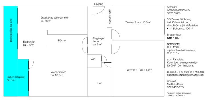 3.5 Zimmer-Wohnung (ca. 100m2 mit Balkon) 2