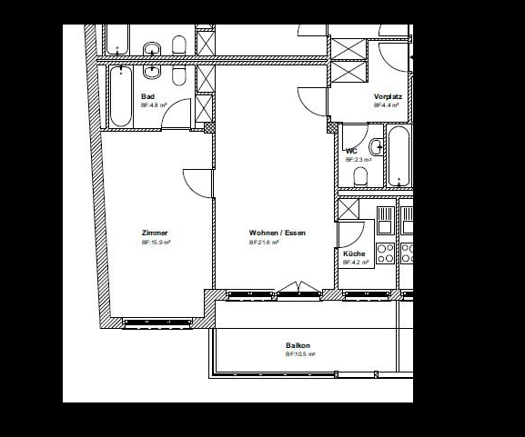 1.5 Zimmer-Wohnung im 4. Obergeschoss !!! 3