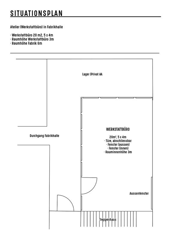 Atelier 20m2 in Werkstattbüro, Fabrikhalle 3400 Burgdorf