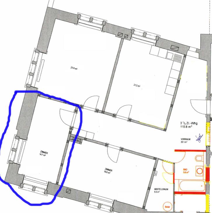 15m2 Raum in wunderschoenem Stilaltbau in Goldau / 15m2 room in 115m2 newly renovated shared flat in Goldau   6410 Goldau