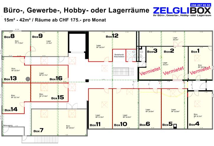 ZELGLIBOX - Buero-, Gewerbe-, Hobby - oder Lagerräume 5313 Klingnau
