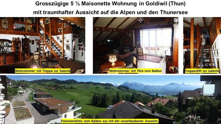Traumhafte 5 1/2 Zimmer Maisonette Wohnung in Goldiwil 3624 Goldiwil bei Thun