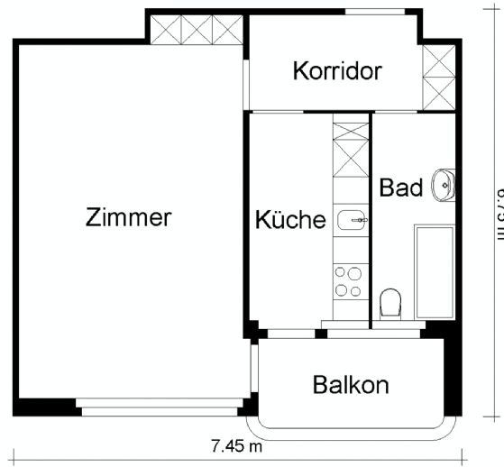 Studio-Apartment - voll möbliert 8002