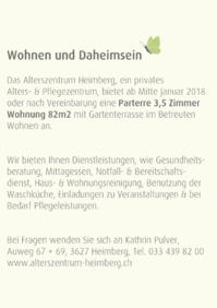 Betreutes Wohnen im Alterszentrum Heimberg Parterre 3.5 Zimmer Wohnung