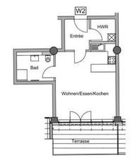 Wohnung - 1 Zimmer 50 m2