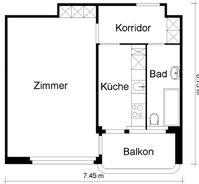 Studio-Apartment - voll möbliert